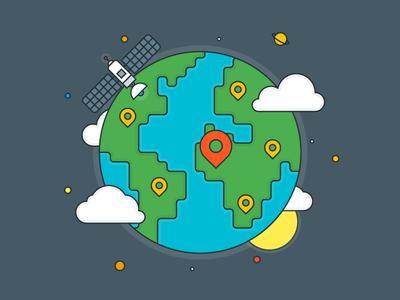 The Earth outline flat explainer earth illustrator