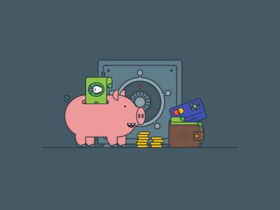 Banking & Saving safe money piggy kit explainer flat illustrator outline