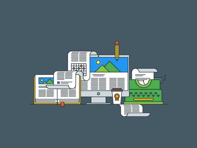 Copywriting typewriter copywriting outline illustrator flat explainer kit