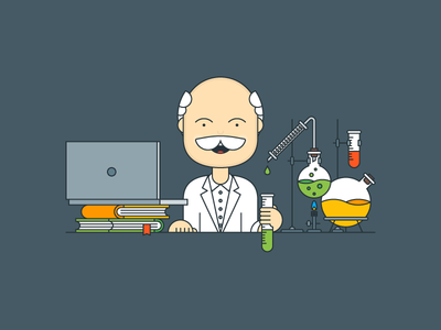 Scientific Approach outline illustrator flat explainer kit chemistry laboratory science