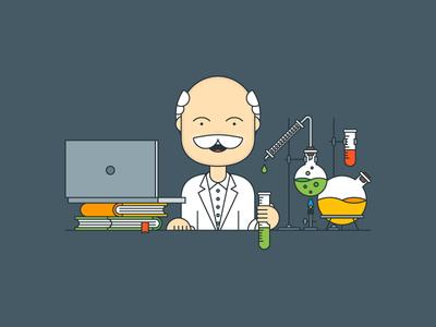 Scientific Approach outline illustrator flat explainer kit chemistry laboratory science