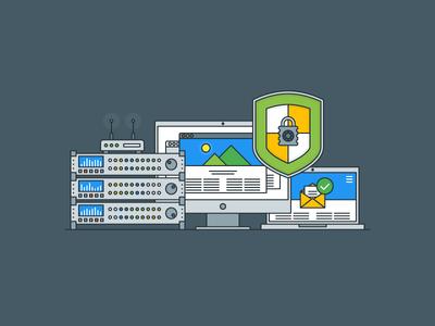 Data Protection web wifi mail protection data kit explainer flat illustrator outline