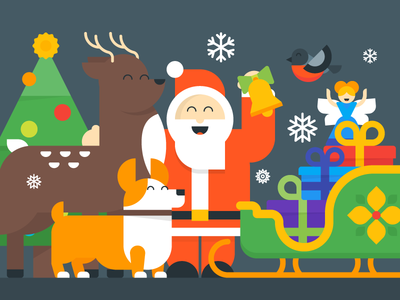Christmas & New Year Greetings snowflake fairy bird deer corgi characters new year christmas santa sleigh present