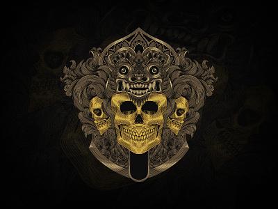 Three Skulls Barong vintage branding tshirt balinese culture bali barong ornament mandala illustration engraving drawing design