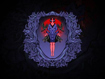 af·ter·math skulls wolf branding tshirt vintage ornament mandala illustration engraving drawing design