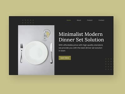 Dinner Set Hero Section design web design minimalist website design uidesign hero section dinner set