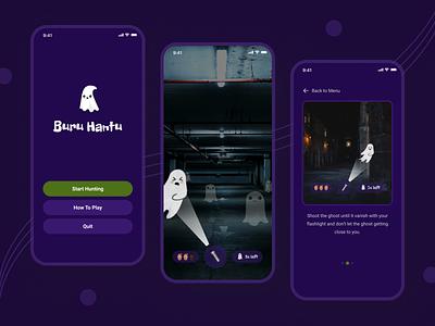 Ghost Hunter Game Mobile App mobile games games games design ghost hunter uidesign dark mode minimalist ui design ui app design mobile design ghost