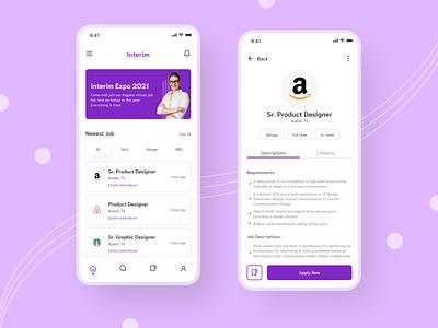 Interim Job Finder App minimalist ux design ui app design mobile design uidesign ui design job portal job finder