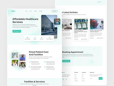 Maldycare Landing Page vaccine covid19 covid nurse clinic doctor ui minimalist ui design web design landingpage landing page healthcare
