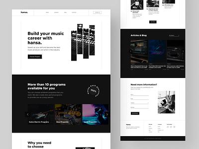 Music Academy Landing Page ui uidesign hero section landingpage minimalist design ui design web design landing page sound course academy music