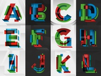 A-Z Type Experiment 1 geometric letter experimental drawn type letters illustration hand lettering lettering typography type
