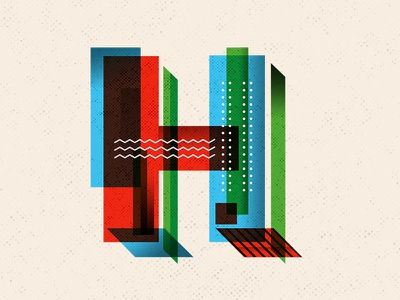 H dimensions hello halftone angle geometric h letters letter typography