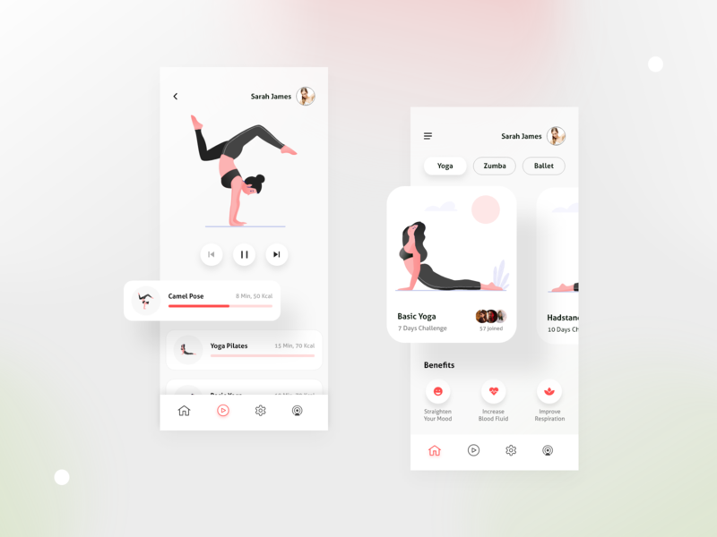Yoga Mobile Application UI popular user interface trend application ui mobile app ballet zumba app fitness yoga illustration ux trend ui trend figma ui design visual design trending adobe xd new design