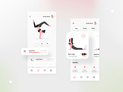 Yoga Mobile Application UI popular user interface trend application ui mobile app ballet zumba app fitness yoga illustration ux trend ui trend figma ui design visual design trending adobe xd new design