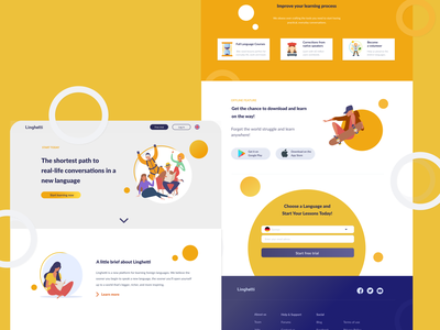 Language learning landing page website language learning vector ux ui web flat design