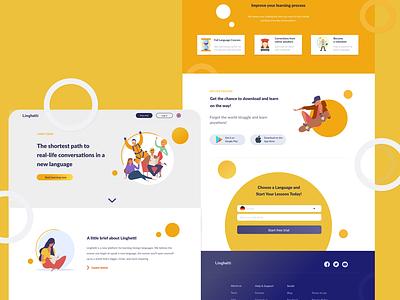Language learning landing page website language learning vector ux ui web flat design