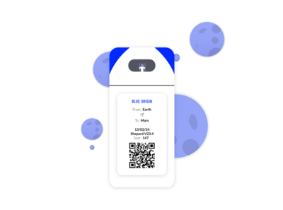 DailyUI - 024 / Blue origin bording pass (lkd to 023)