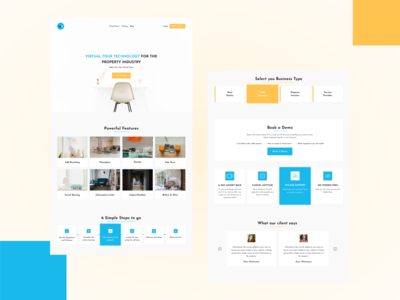 Homepage for MS steps features testimonial website yellow sky blue property search real estate homepage hero section business app ui clean ui ui ux branding soft ui square papercut minimalist design clean design