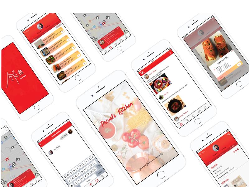 Private Kitchen ux design app illustration