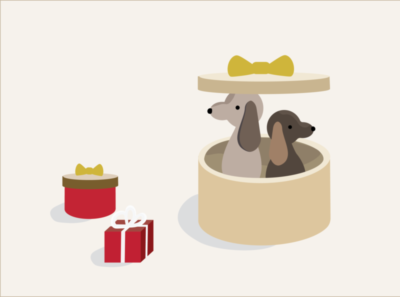 Dogs and Gifts adobe illustrator