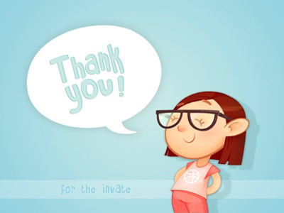 Thank you! debut thanks cartoon dribbble character invitation