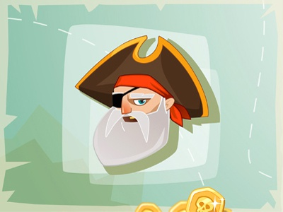 Yo-ho-ho, and bottle of rum! cartoon character pirate coins map beard vector game