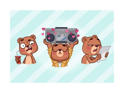 Jo Bear animation love funny bear telegramstickers stickers telegram cartoon character vector