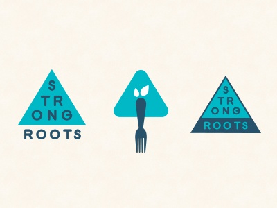 Strong Roots  logo identity strong roots health nutrition blue triangle fork tree pyramid