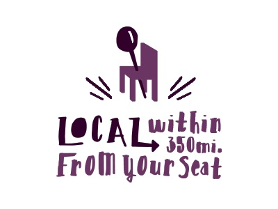 Local means local. local food restaurant chair pushpin location fresh purple