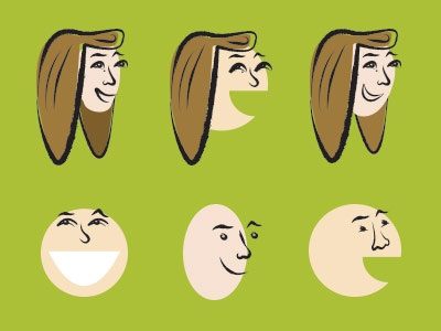 Making Faces illustration brush face people character smile eye brow green brown happy