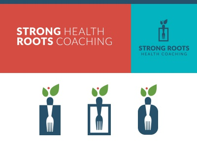 Strong Roots #3 logo fork roots leaf fruit health coaching wellness growth identity branding strength