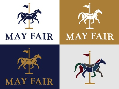 May Fair horse carousel pole flag merry go round blue gold may fair contour line drawing