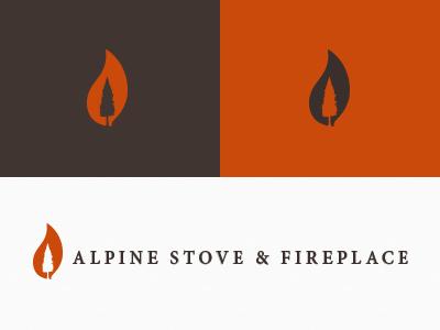 Alpine Stove & Fireplace serif identity logo orange flame tree alpine