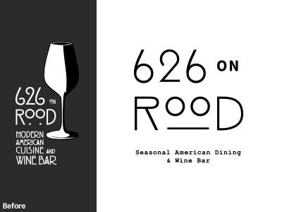 626 on Rood custom type restaurant logo