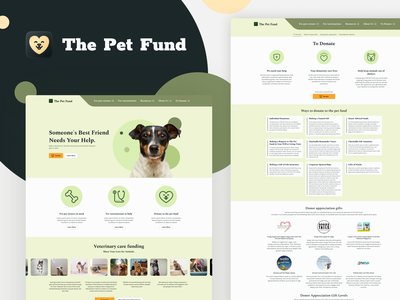 The Pet Fund main page donate pets cat dog light green donation design figma ui redesign fund pet