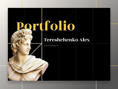 Portfolio cover yellow figure antique portfolio design figma ui
