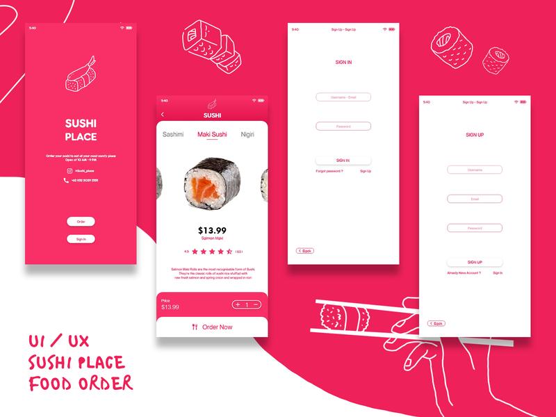 UIUX Order Sushi icon app ux ui type illustration design uiux