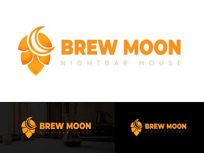 Brew Moon Logo moon logo night bar nightclub brew moon logo brand design brew brand logo brewing brewery brewery branding brew brewery logo clean logo flat branding design modern logo brand identity awesome logo logo design brand branding