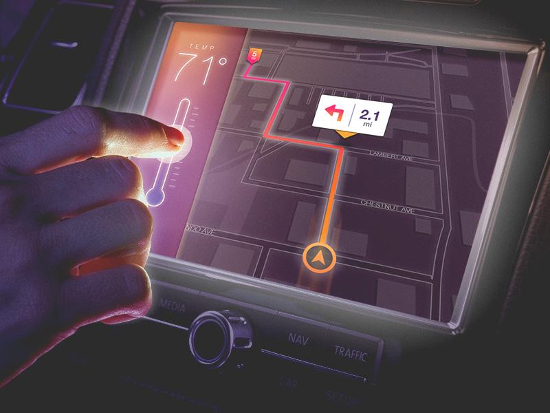 Automotive Console UI Concept ui automotive console gps dashboard interface maps temperature
