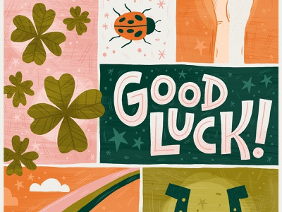 Good luck! rainbow four leaf clover ladybug design surface pattern greeting card hand lettered typography hand lettering illustration good luck