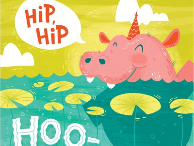 Hooray Hippo party animals hippo surface pattern greeting card hand lettered typography illustration hand lettering