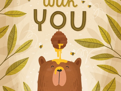 Sweet bear hand type bees forest honey bear surface pattern greeting card hand lettered typography illustration hand lettering