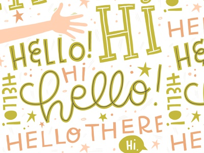 Hi, Hello! hi modern calligraphy hello surface pattern hand lettered typography illustration hand lettering
