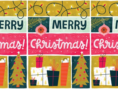 Merry Christmas! christmas lights ornament holidays presents christmas tree christmas christmas card greeting card hand lettered typography hand lettering illustration