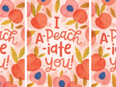 I a-peach-iate you! surface design peaches thank you food pun peach greeting card hand lettered typography hand lettering illustration