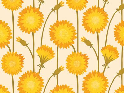 Dandelion Wishes nostalgic nostalgia flowers dandelion surface pattern design modern florals floral art surface pattern greeting card illustration
