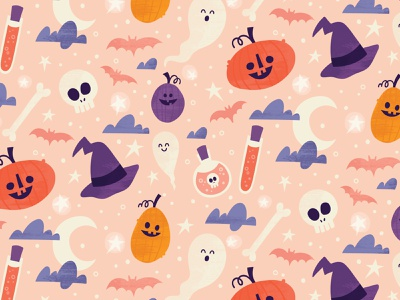 Halloween surface pattern bats stars skull moon witch ghost pumpkin spooky fall halloween surface pattern greeting card illustration