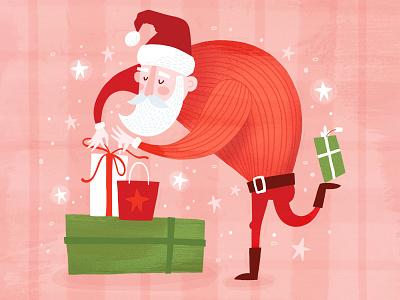 Santa presents holiday christmas santa surface pattern greeting card illustration