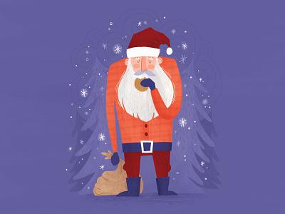 Cookie Break santa claus cookie christmas tree snow holiday surface design christmas card christmas santa surface pattern greeting card illustration