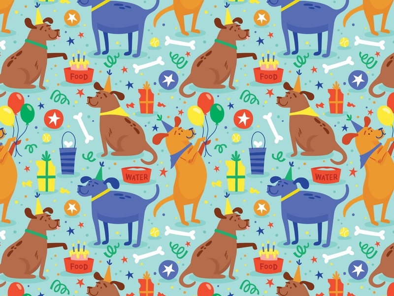 Dog Party gift wrap party pattern celebration surface pattern greeting card illustration